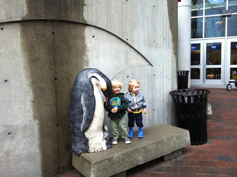 Visiting their friends at the Aquarium.