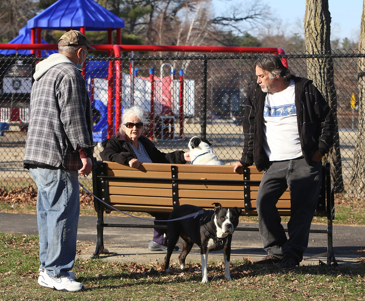 Neighbors of Silver Lake in Wilmington exercise their dogs on a warm afternoon. From left, Phil Valente with his Staffordshire terrier Nakita, Theresa Moakley, and Ralph Matthews with his Australian cattle dog, Ruben sitting on the bench.  (SUN/Julia Malakie)