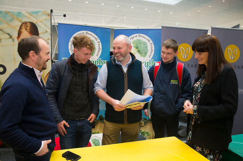 09/03/2019. Pictured at the Waterford Institute of Technology Science Careers Day.  Pictured are Kieth Hopkins Murrintown, Andy Fahey from and Pat Smyth from Paul Brophy Produce Ltd, Shane Murphy Ballyragget and Yvonne Grace Horticulture Lecturer WIT. Picture: Patrick Browne