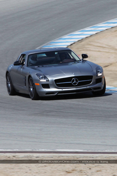 Tommy rides shot gun for drives in the SLS.