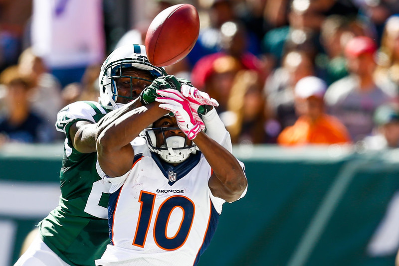 . Phillip Adams #24 of the New York Jets breaks up a pass intended to Emmanuel Sanders #10 of the Denver Broncos in the second quarter at MetLife Stadium on October 12, 2014 in East Rutherford, New Jersey.  (Photo by Jeff Zelevansky/Getty Images)