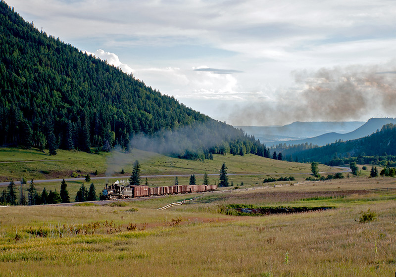 DRGW 315 passes Dalton in the early evening enroute to Cumbres.  August 25, 2016.