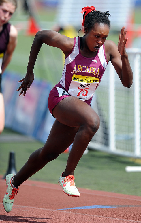 . Arcadia\'s Kyra White competes in the 200 meters race in the during the Arcadia Invitational at Arcadia High School on Saturday, April 6, 2013 in Arcadia, Calif.  (Keith Birmingham Pasadena Star-News)