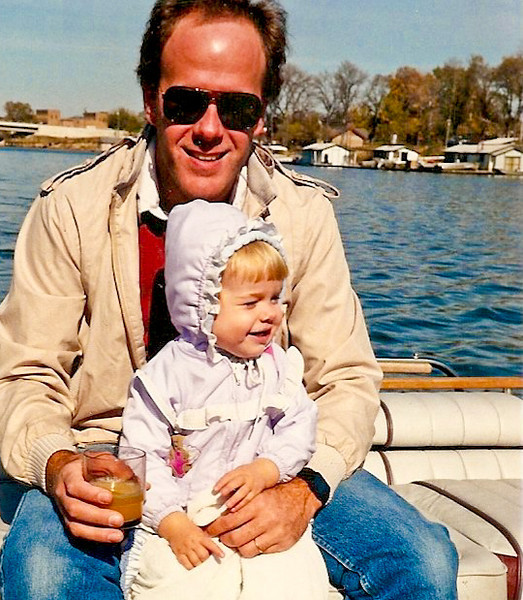 On the Mississippi River by LaCrosse, Wisconsin with my daughter, and I'm having a Fuddpucker. Training began at an early age for Stefanie.