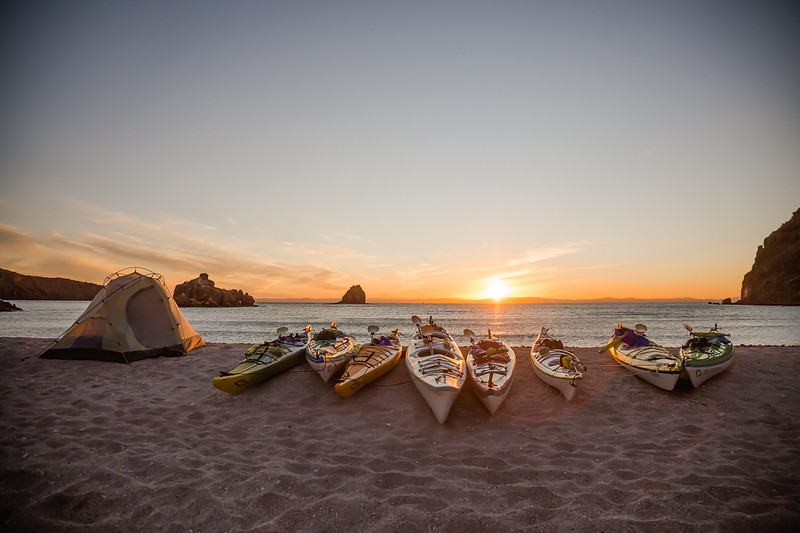 Sunset with Kayaks in Mexico on Candelero beach - Isla Espiritu Santo Baja