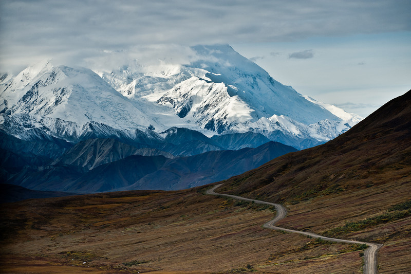 Our first view of Mt McKinley (aka Denali), about 50 miles inside the park. During summer the top half to two-thirds is nearly always covered in clouds.
