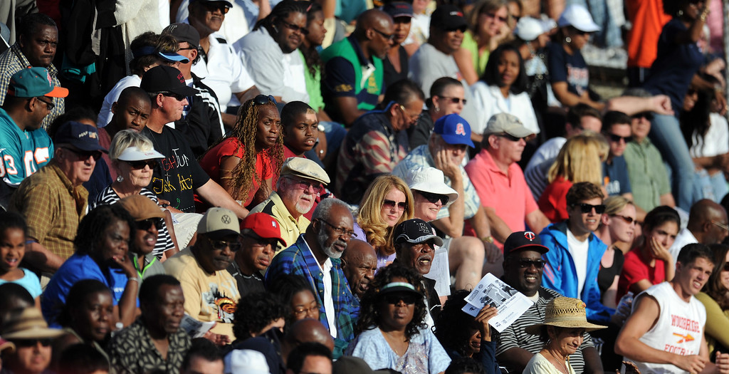 . Hundreds of fans look on during the CIF-SS Masters Meet at Cerritos College on Friday, May 24, 2013 in Norwalk, Calif.  (Keith Birmingham Pasadena Star-News)
