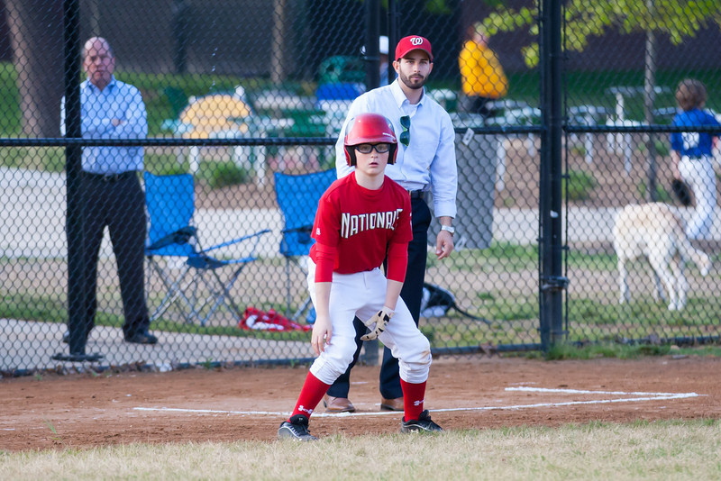 Mac hits a single. The Nats score on an overthrow to 1st base and Christopher advances to 3rd base in the top of the 4th inning. Nats lead 8-1. The Nationals almost blew a big lead, but managed to hold off the Brewers to win 9-7. They are now 3-2 for the season. 2012 Arlington Little League Baseball, Majors Division. Nationals vs Brewers (26 Apr 2012) (Image taken by Patrick R. Kane on 26 Apr 2012 with Canon EOS-1D Mark III at ISO 1600, f2.8, 1/2500 sec and 168mm)