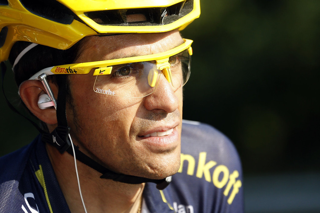 . Spain\'s Alberto Contador rides at the start of the 133.5 km twenty-first and last stage of the 100th edition of the Tour de France cycling race on July 21, 2013 between Versailles and Paris.  JOEL SAGET/AFP/Getty Images