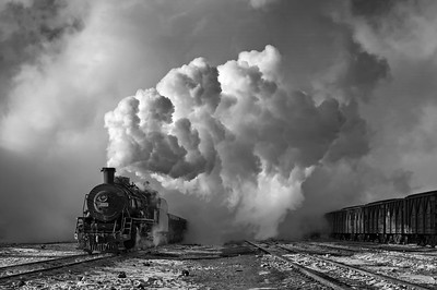 SY1601 emerges from the steam cloud BW