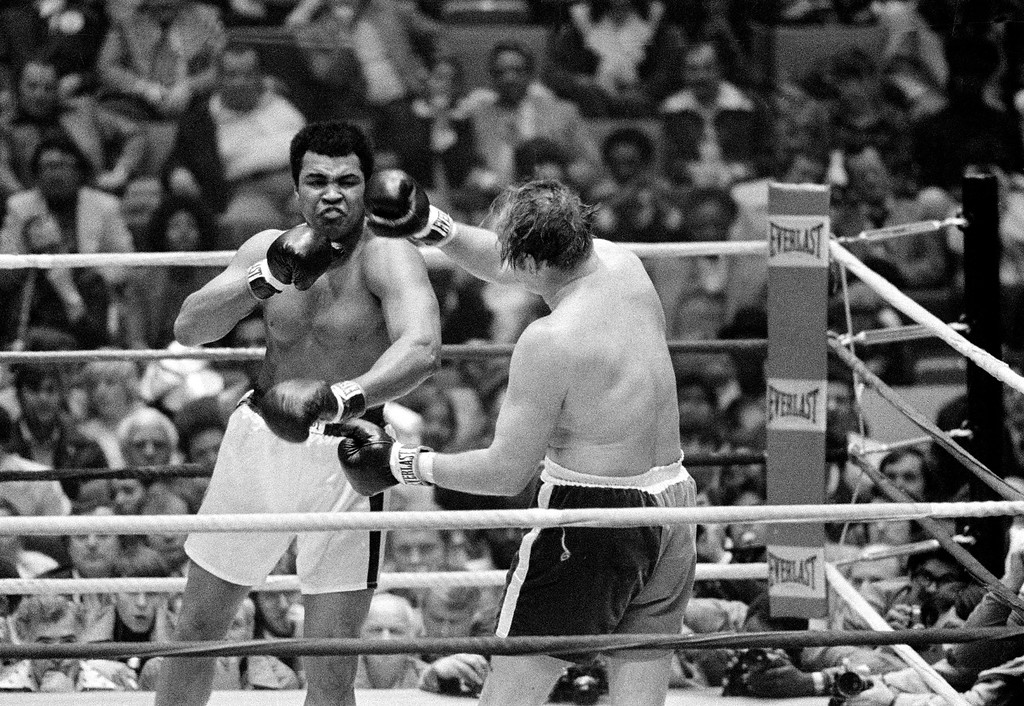 . Challenger Chuck Wepner, from Bayonne, N.J., throws a right at his opponent, defending champion Muhammad Ali, during their  heavyweight title bout at the Richfield Coliseum, in Cleveland, Ohio, on March 24, 1975. (AP Photo)