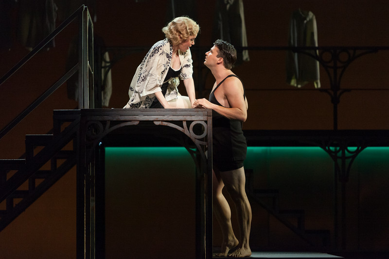 """Cynthia Cook as Sondra Finchley and Christian Bowers as Clyde Griffiths in The Glimmerglass Festival's new production of Tobias Picker's """"An American Tragedy."""" Photo: Karli Cadel/The Glimmerglass Festival."""