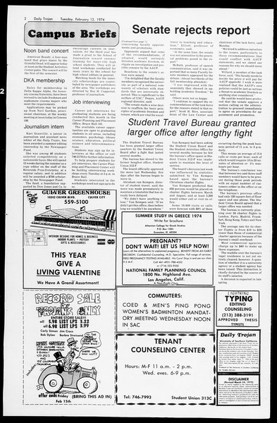 Daily Trojan, Vol. 66, No. 70, February 12, 1974