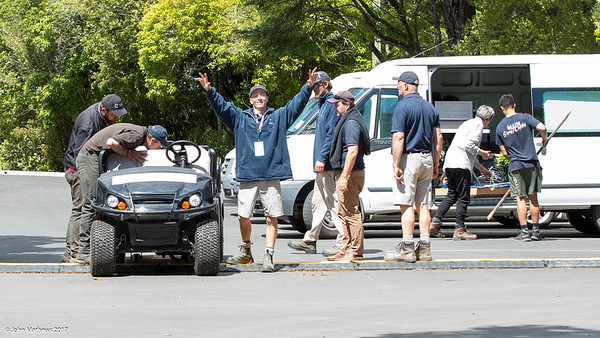 Daniel Dexter waving while at a work meeting on Practice Day 1 of the Asia-Pacific Amateur Championship tournament 2017 held at Royal Wellington Golf Club, in Heretaunga, Upper Hutt, New Zealand from 26 - 29 October 2017. Copyright John Mathews 2017.   www.megasportmedia.co.nz