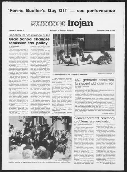 Summer Trojan, Vol. 101, No. 5, June 18, 1986