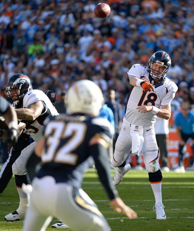 . SAN DIEGO, CA - DECEMBER 14: Denver Broncos quarterback Peyton Manning (18) throws a pass to Denver Broncos wide receiver Emmanuel Sanders (10) during the second quarter against the San Diego Chargers December 14, 2014 at Qualcomm Stadium (Photo By John Leyba/The Denver Post)