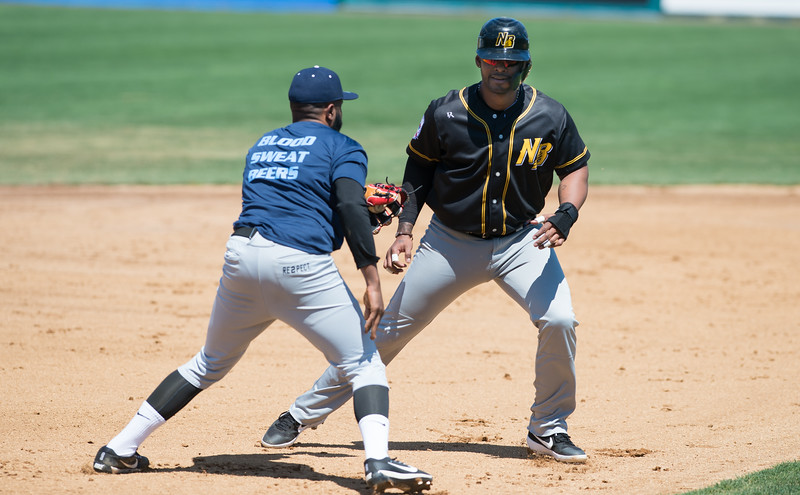 04/23/19  Wesley Bunnell | Staff  The New Britain Bees held their first exhibition game of the season vs the Milford Hunters on Tuesday afternoon.  Jovan Rosa (35) is tagged out by the Hunters third baseman.