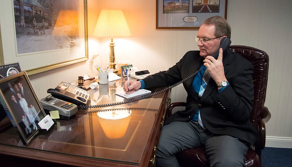 03/19/20 Wesley Bunnell | StaffrrPeter Hansen from Erickson-Hansen Funeral Home located at 411 S. Main St in New Britain speaks with a client on the phone Thursday March 19, 2020.