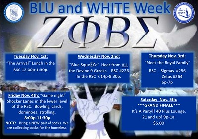 Blu & White week Nov 1-5, 2016