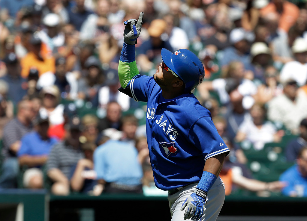. Toronto Blue Jays\' Juan Francisco celebrates hitting a two-run home run against Detroit Tigers pitcher Justin Verlander in the sixth inning of a baseball game in Detroit, Thursday, June 5, 2014. (AP Photo/Paul Sancya)
