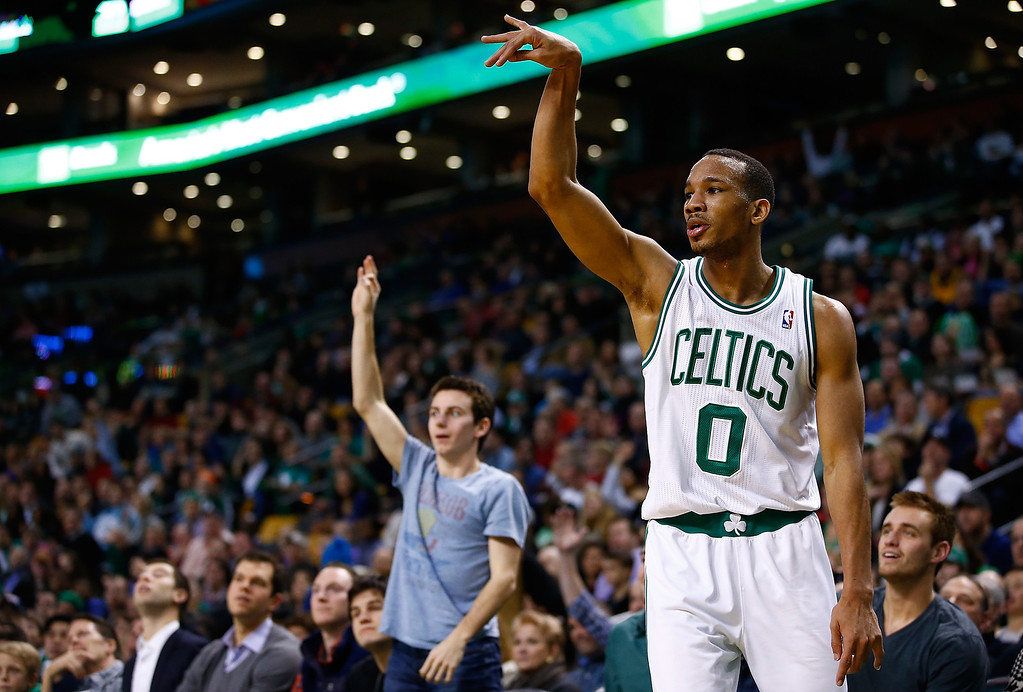 . BOSTON, MA - DECEMBER 06: Avery Bradley #0 of the Boston Celtics looks on following his three point attempt against the Denver Nuggets in the first quarter during the game at TD Garden on December 6, 2013 in Boston, Massachusetts.  (Photo by Jared Wickerham/Getty Images)