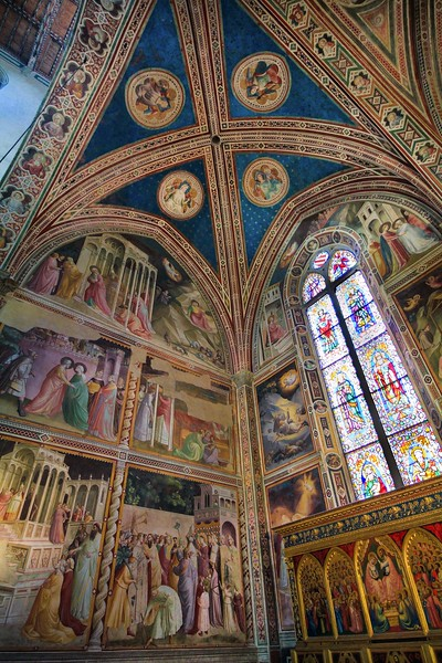 Super wide view of a side chapel in Santa Croce.