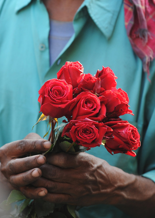 . An Indian farmer arranges flowers at a wholesale flower market in Kolkata, on February 14, 2013. On Valentine�s day the floriculture business in the city is booming because of the increased demand nationally. AFP PHOTO/ Dibyangshu SARKAR/AFP/Getty Images