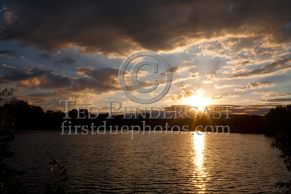Sunset Over Belmont, Massachusetts - Pond On Concord Av