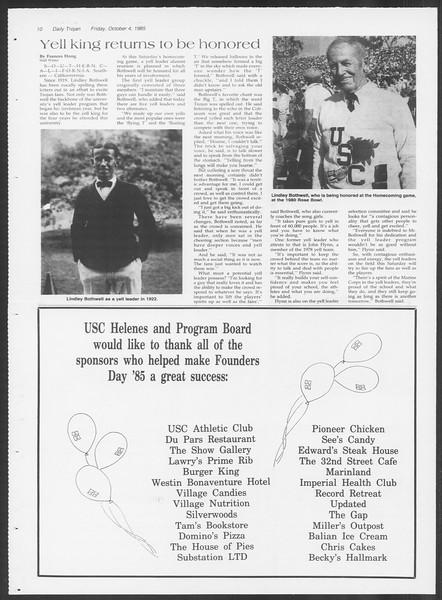 Daily Trojan, Vol. 100, No. 24, October 04, 1985
