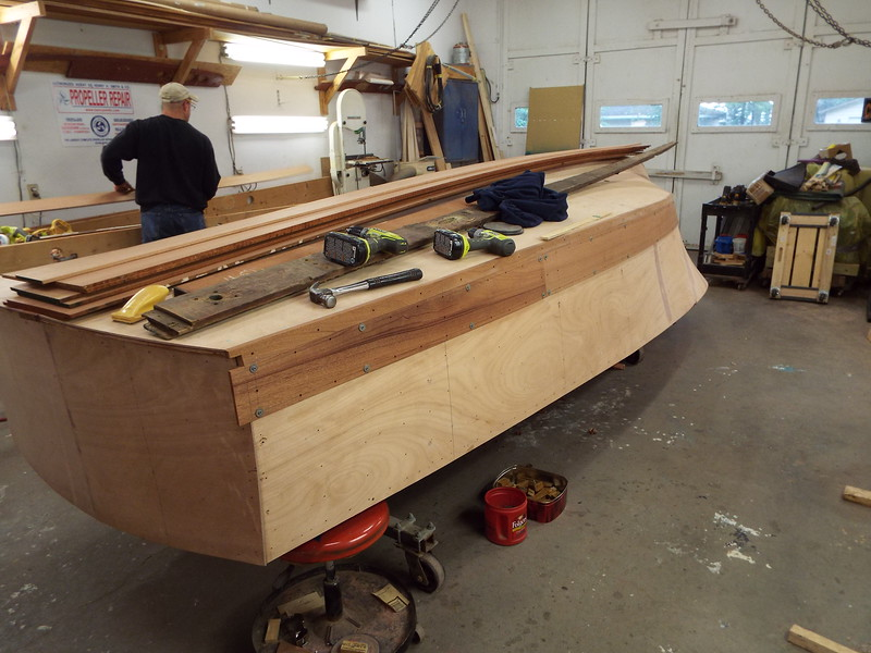 Rear view of the first port side plank fit.