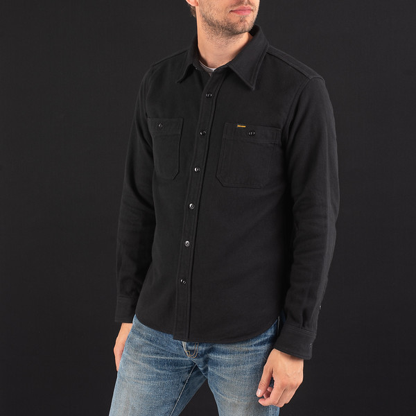 Black Ultra Heavy Flannel Plain Herringbone Work Shirt-5329.jpg