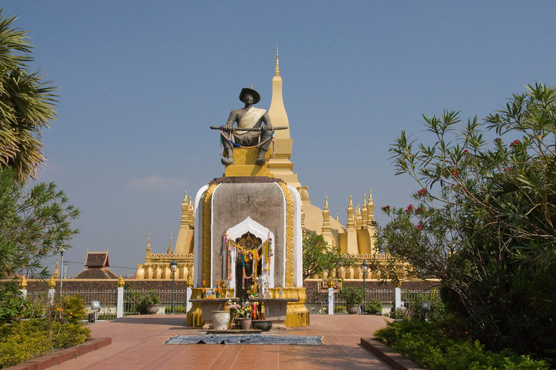 Closer shot of the shrine at Prathat Luang Temple in Vientiane, Laos