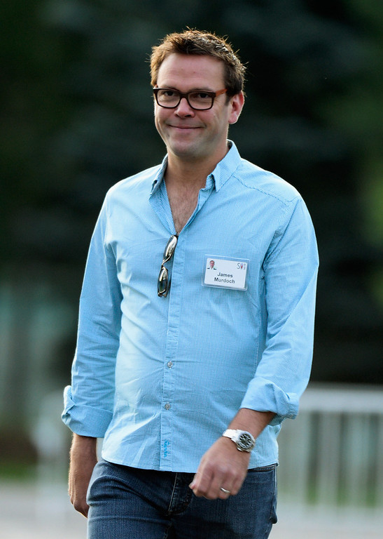 . James Murdoch, son of  Rupert Murdoch and the deputy chief operating officer of News Corporation, arrive for morning session of the Allen & Co. annual conference at the Sun Valley Resort on July 10, 2013 in Sun Valley, Idaho. The resort is hosting corporate leaders for the 31st annual Allen & Co. media and technology conference where some of the wealthiest and most powerful executives in media, finance, politics and tech gather for weeklong meetings. Past attendees included Warren Buffett, Bill Gates and Mark Zuckerberg.  (Photo by Kevork Djansezian/Getty Images)