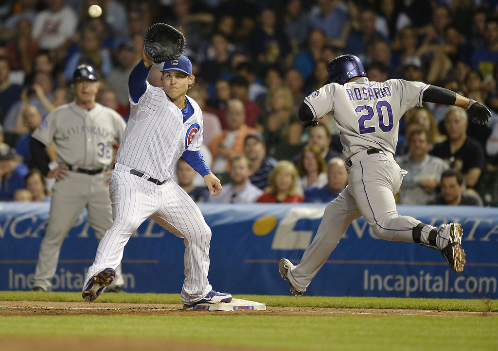 . First baseman Anthony Rizzo #44 of the Chicago Cubs catches the ball to retire Wilin Rosario #20 of the Colorado Rockies at first base after Rosario hit a ground ball during the fifth inning on May 14, 2013 at Wrigley Field in Chicago, Illinois.  (Photo by Brian Kersey/Getty Images)