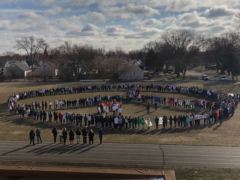 Students at Allen Park Middle School created a human peace sign during their 17-minute show of unity Wednesday. Photo courtesy Allen Park Public Schools