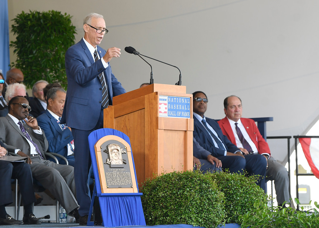 . National Baseball Hall of Fame inductee Alan Trammell speaks during an induction ceremony at the Clark Sports Center on Sunday, July 29, 2018, in Cooperstown, N.Y. (AP Photo/Hans Pennink)