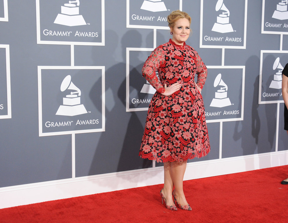 . Adele arrives at the 55th annual Grammy Awards on Sunday, Feb. 10, 2013, in Los Angeles.  (Photo by Jordan Strauss/Invision/AP)