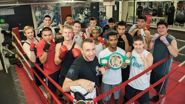 DAVID LIPNOWSKI / WINNIPEG FREE PRESS  Professional boxer and spinal cord injury activist from New York, Boyd Melson with Pan Am Place residents, at Pan Am Place Sunday July 17, 2016. Pan Am Place provides a home and guidance for approximately 30 young men in the Exchange District. They become part of the Pan Am Boxing program and integrate into the community while they complete education and job training.