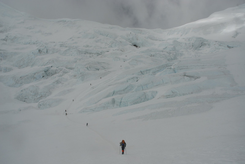 Over the glacier approaching North Col climb