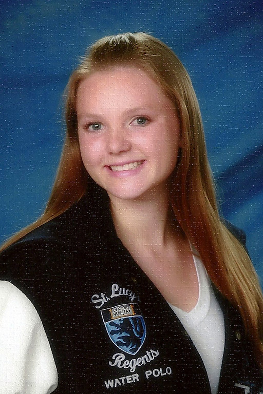 . Rachel Stock from St. Lucys H. S. for All-Area Girls Water Polo. HAND-IN: 4-9-13