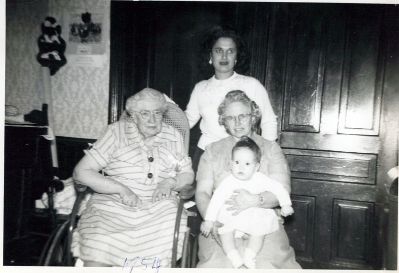 1954 Grandma Boadway and Florence Konyha, Eileen Lashbrook and Toni Lee Lashbook the baby.jpeg