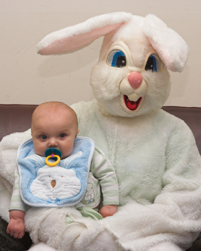 K.C. was a good boy while being held by the Easter Bunny.  He gained extra good boy points since it was over 3 hours since his last nap. (8x10 crop)