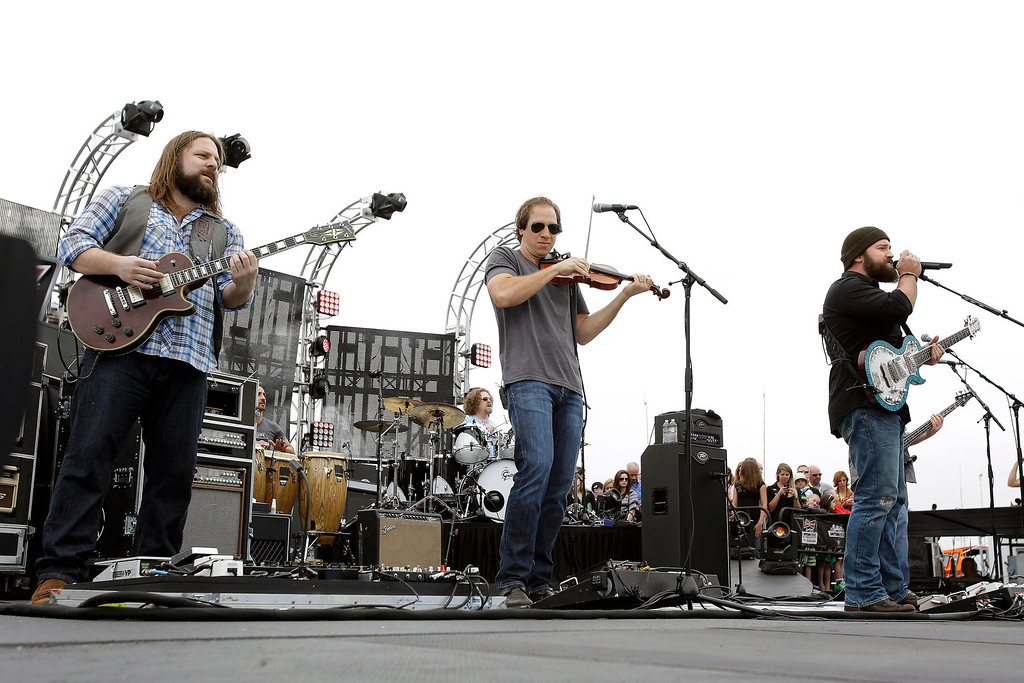 . Zac Brown Band performs before the NASCAR Daytona 500 Sprint Cup Series auto race at Daytona International Speedway, Sunday, Feb. 24, 2013, in Daytona Beach, Fla. (AP Photo/John Raoux)
