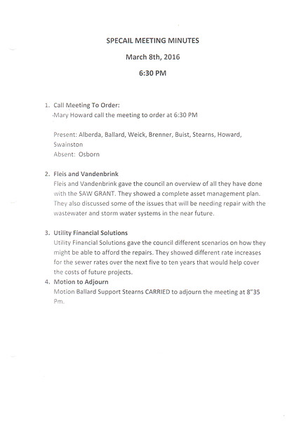 March 2018 Meeting Minutes