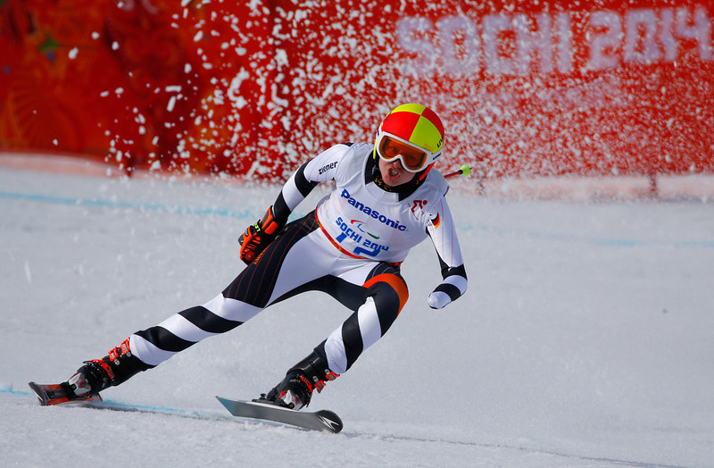 . Germany\'s Andrea Rothfuss races during the women\'s downhill, standing skiing event at the 2014 Winter Paralympic, Saturday, March 8, 2014, in Krasnaya Polyana, Russia. (AP Photo/Dmitry Lovetsky)