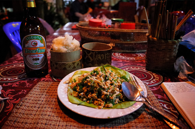 Laab. Beer Lao. Sticky Rice. Typical Lao dinner