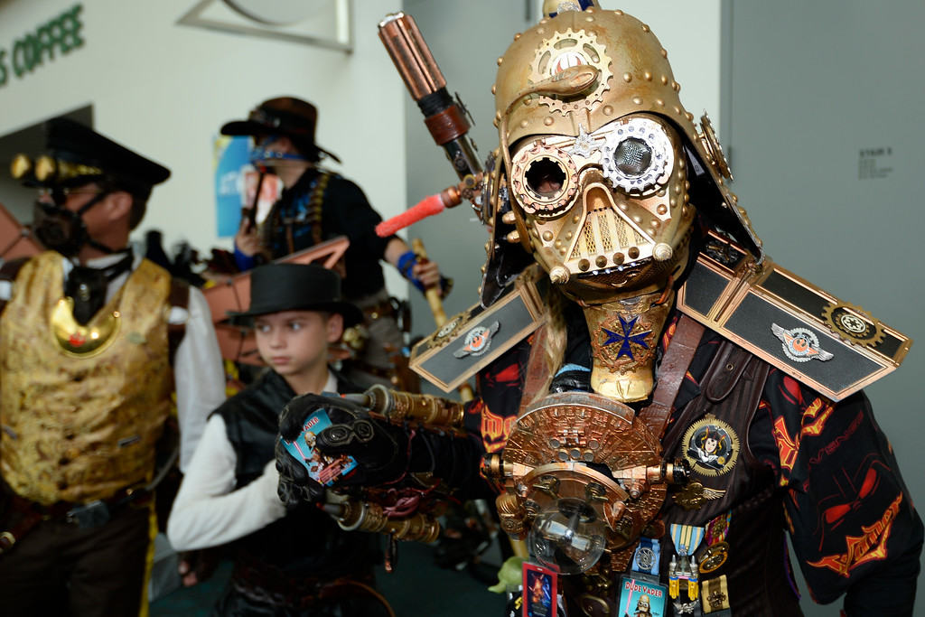 . Star Wars Steam Punk Universe character Christopher Canole poses for photographers on day three of the Comic-Con International held at the San Diego Convention Center Saturday July 23, 2016 in San Diego.  (Photo by Denis Poroy/Invision/AP)