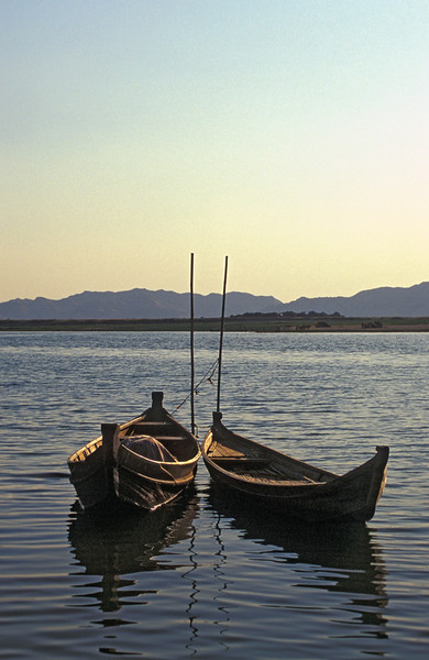 Two Boats Harbored by Ayeyarwaddy Riverbank (Burma)