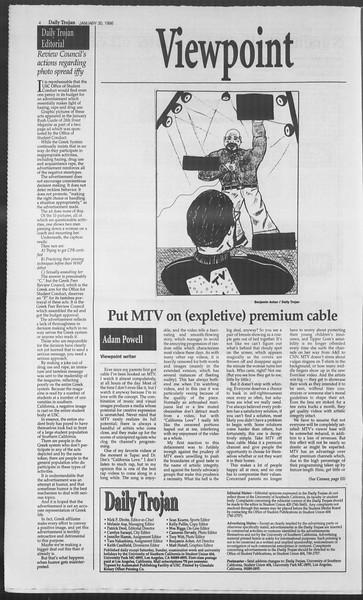 Daily Trojan, Vol. 127, No. 12, January 30, 1996