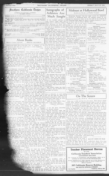 Southern California Trojan, Vol. 11, No. 12, July 29, 1932